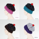Bonnet à pompon coloré