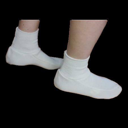 Chaussons chaleur taille L/XL homme laine ivoire