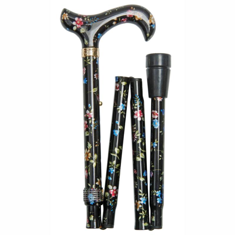 Canne de marche pliante réglable florale noire