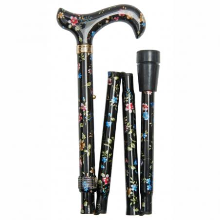 Canne de marche pliante réglable noire à fleurs