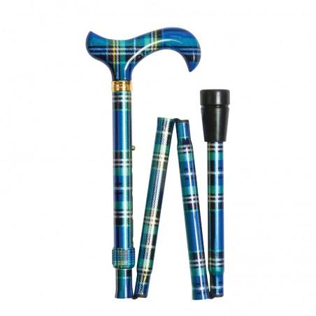 Canne de marche pliante réglable tartan écossais bleue