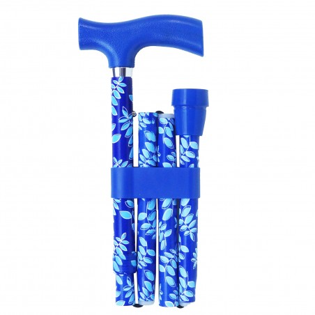 Canne de marche pliante Feuillage bleu