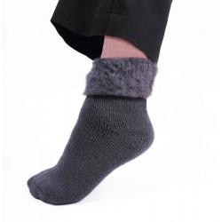 Chaussettes d'intérieur fourrées - Marron