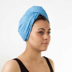 Serviette turban en microfibre bleu