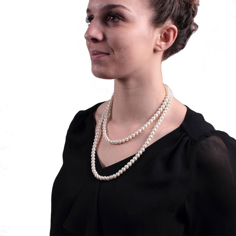 Collier de perles magnétiques nacré plastique 62 cm