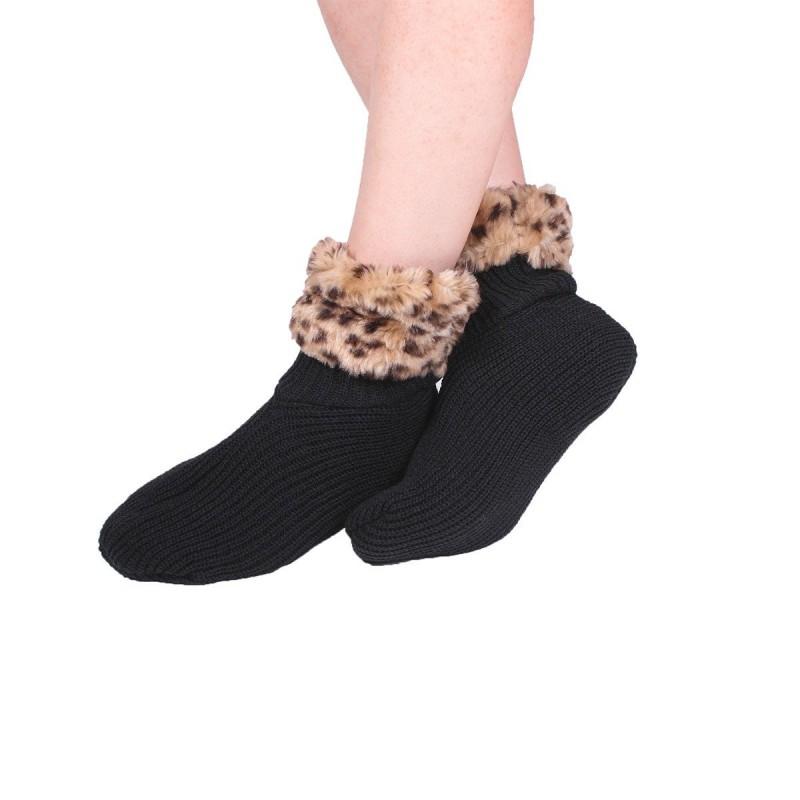 Chaussettes tricot bord léopard noir 25 x 13 cm