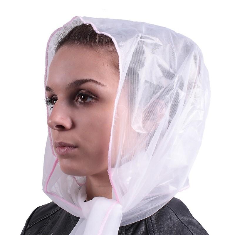 Capuche pluie style foulard blanc polyamide - Lot de 2