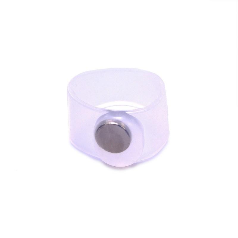 Bague orteil avec aimant transparent silicone 3 cm x 9 mm - Lot de 2