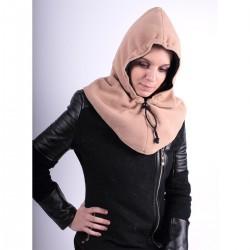 Capuche réversible camel/noir polyester 45 cm