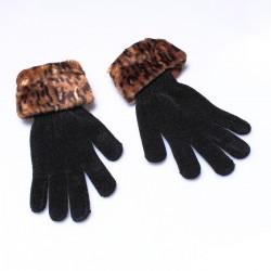Gants imitation léopard polyester