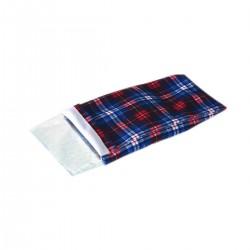Coussin gel écossais pour articulations rouge/bleu polyester 28 x 16 cm