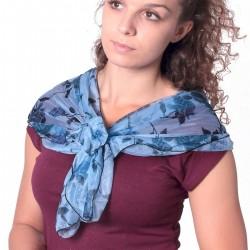 Foulard pré-noué bleu motifs fleurs