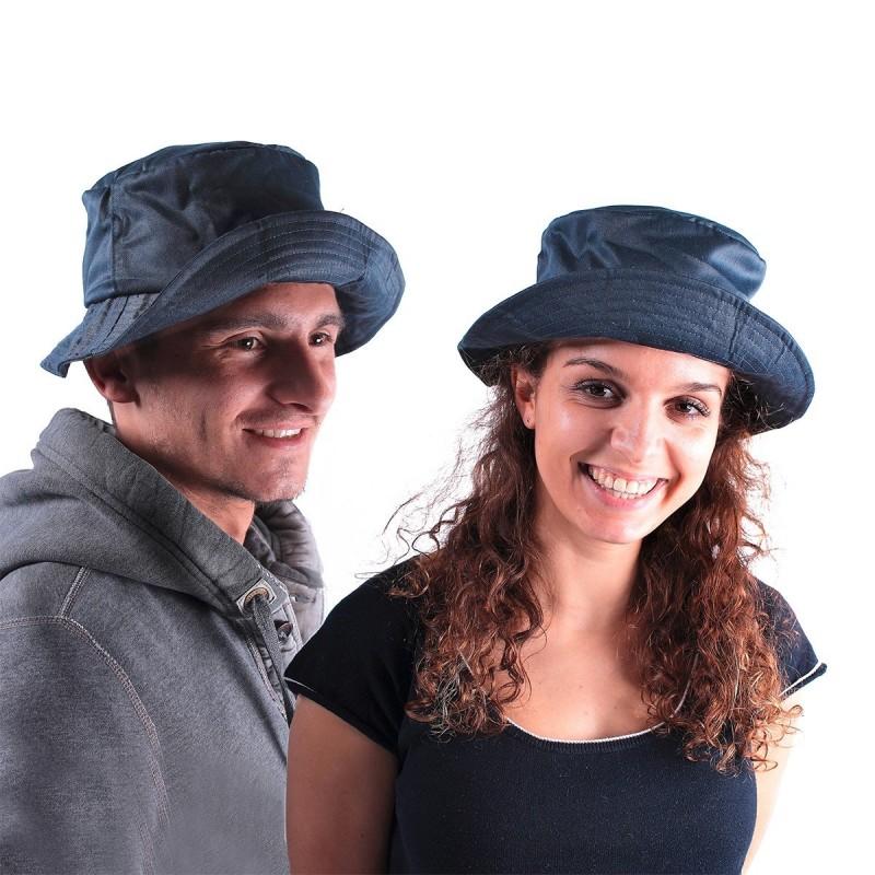 Chapeau pliable bob bleu marine coton
