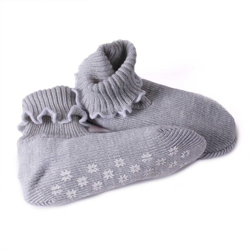 Chaussettes étoiles anti-glisse gris clair acrylique 25 x 11 cm