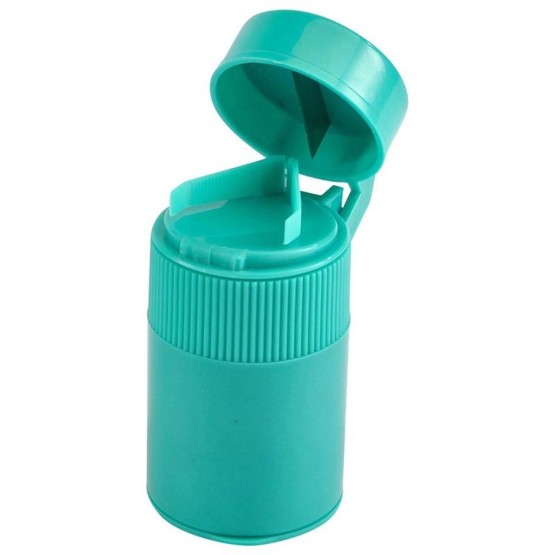 Piluliers 3 en 1 vert plastique 7.5 x 4.5 x 3.5 cm - Lot de 2