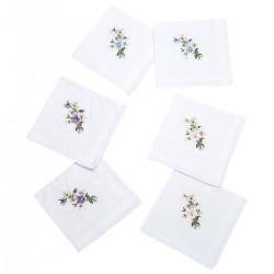 Mouchoir brodé fleurs - Lot de 6