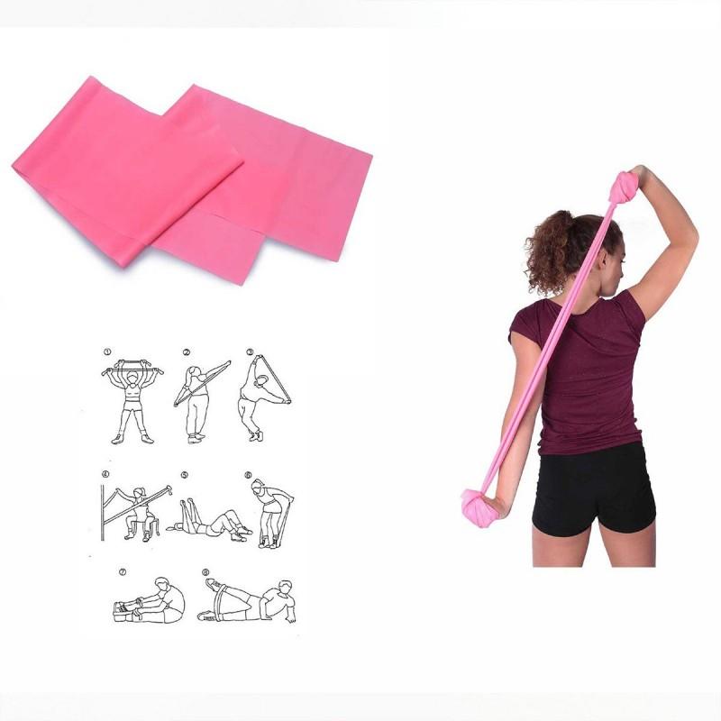 Bande élastique spéciale gym rose fluo 120 x 15 cm - Lot de 2