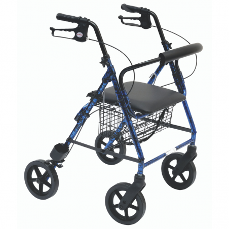 Rollator 4 roues avec panier en alu bleu