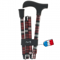 Canne pliante réglable alu écossais rouge et poignée bois noir