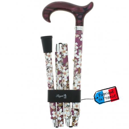 Canne pliante réglable alu vieux rose fleurs et poignée plexiglass violine