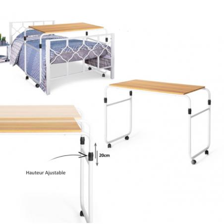 Table de lit à roulettes