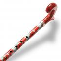 Canne pliante réglable alu coquelicots et poignée plexiglass rouge